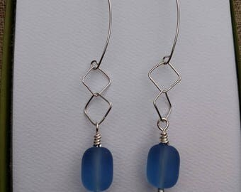 Dark Ocean Blue Seaglass and Argentium Silver Drop Earrings - With Hand Crafted Earwires and Headpins