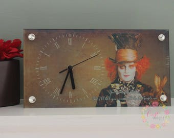 Mad Hatter - Johnny Depp Glass Desk Clock