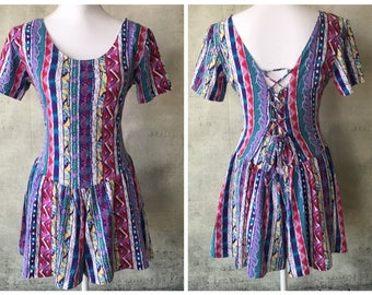 Womens Vintage 80s MultiColor Striped Abstract Print Shorts Jumpsuit Romper Playsuit