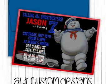 ghostbusters invitations - ghostbusters birthday invitations - stay puft invitations - ghostbuster birthday