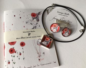Notebook and coordinate jewelry - set earrings cabochon, crew neck, square Locket necklace