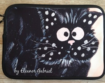 """Cover laptop 13 """"with a pair of crazy cats"""
