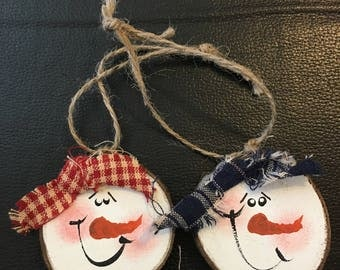 Bag of 2 Hand painted wood slice snowman ornaments