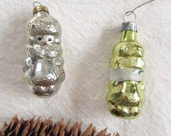 Girl Christmas ornament in silver and gold colorscolor. Set of 2 jingle balls. Christmas gift