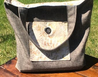 Grey and Tan Tote - Beach Bag - Book Bag - Market Bag