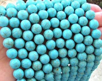 Turquoise Magnesite, 10mm beads, full strand, turquoise beads, magnesite beads, blue magnesite, blue beads, 10mm blue beads