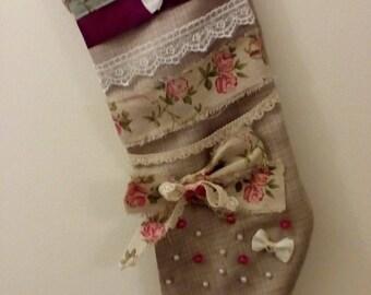 Beautiful handmade shabby chic Christmas stocking