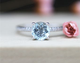 14K White Gold Ring 6.5mm Round Cut Aquamarine Ring Wedding Ring Promise Ring Engagement Ring Aquamarine Diamond Ring Anniversary Ring