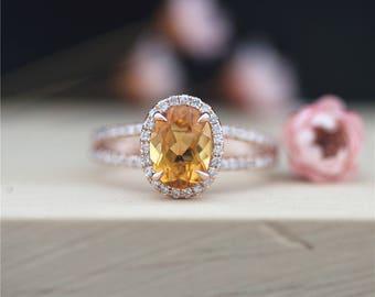 Citrine Ring Oval Cut 7*9mm Citrine Engagement Ring Wedding Ring Half Eternity Diamond Ring 14K Rose Gold Ring Promise Ring Anniversary Ring