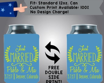 Just Married Name Pablo & Mia Denver, Colorado Collapsible Fabric Wedding Cooler Double Side Print (370) Can Cooler