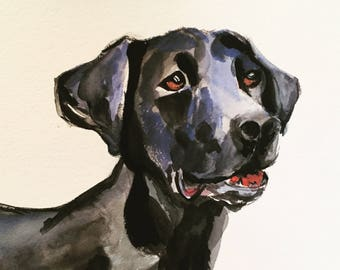 Dog Portrait, Custom Watercolor Pet Portraits, Pet Portrait from you photo