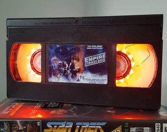 Retro VHS Star Wars The Empire Strikes Back Night Light Table Lamp Movie. Order any movie! Great personal gift. Man Cave.