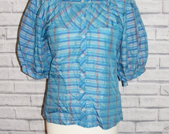 Size 12 vintage 70s puff sleeve ruffle neck blouse sparkly blue stripes (HT65)