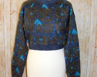 Size 10 vintage 80s long sleeve crop jumper crazy pattern fluffy knit (HO98)