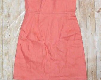 Size 6-8 vintage 80s extra high waist tulip midi pencil skirt coral denim (HR99)