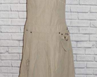 Size 12 vintage 90s strappy gathered dress tie shoulder beige lace trim (ID21)