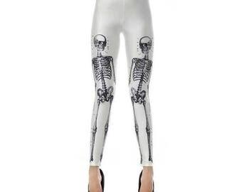 White Skeleton Leggings