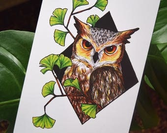 Geometric Owl with Gingko Leaves Illustration // A5