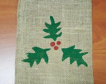 Burlap Bag, Holly Sprig Burlap Holiday Bags, Burlap Gift Bags, Gift Bags, Goodie Bags, Party Bags, Christmas Bags, Christmas Decor