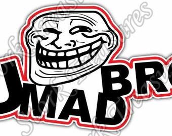 You Mad Bro Internet Troll Face Trolling Car Bumper Vinyl Sticker Decal