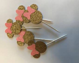 Minnie Mouse cupcake toppers pink and gold