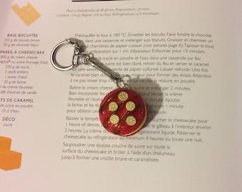Key ring / jewelry bags macaroon with lemon slice