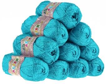 10 x 50 g crochet / Knitting yarn ALIZE FOREVER SIM, #16 Sochi blue
