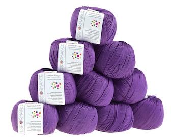 10 x 50 g knitting wool cotton breeze, #57 violet