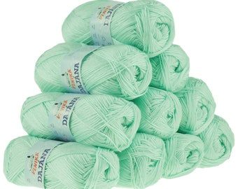 10 x 50 g knitting wool Dajana uni by VLNIKA, #474 mint