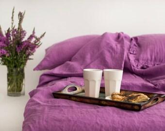 SAMPLESSALE! Washed Linen Duvet Cover, Linen Duvet Cover, Levander Linen Duvet Cover, Single duvet case