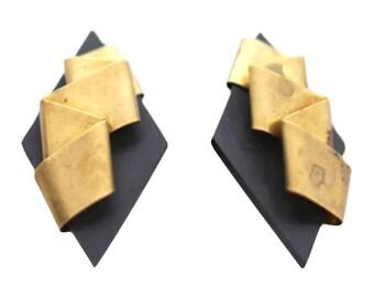 Diamond shaped clip on earrings