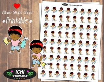 Cleaning Printable Planner Stickers, African American Girl Planner Stickers, Black Girl, Kawaii Chore Planner, Clean Day, Functional