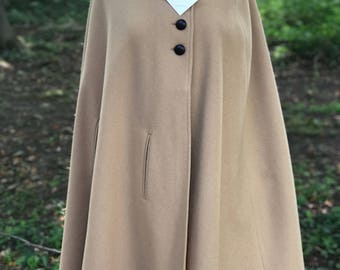 Vintage cape-  Beige, wool button down with embroidered collar design