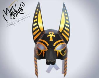 Anubis mask printable.  Egyptian mask. pattern Anubis costume mask. Egyptian costume mask. Egyptian party. Masquerade mask. Anubis  mask.