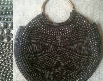 Vintage Black Beaded Purse    Evening    New Year's Eve