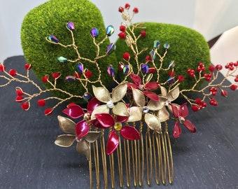 Headdress, enamelled flowers and rhinestones