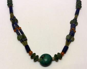Roman glass turquoise lapis lazuli carnelian bead necklace #121
