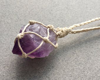 Amethyst Necklace, Raw Amethyst Point, Amethyst Healing Necklace, Healing Gemstone, Meditation Jewelry, Hemp Necklace (66)