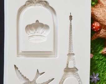 Eiffel Tower Crown Fondant Silicone Mold Sugar Craft Cake Decorating Tools