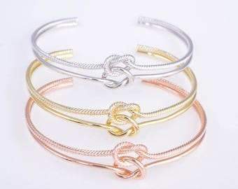 Knot bracelet, bridesmaid bracelet, tie the knot bracelet, gold/rose gold/silver knot bridesmaid bracelets
