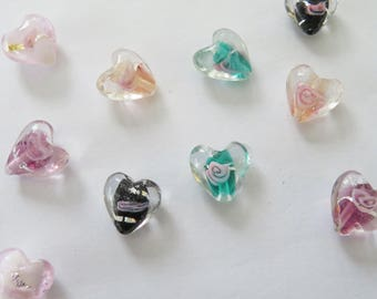 10 rose heart beads - mixed loveheart beads - Valentines beads- lampwork glass beads - pink, black, gold, purple, green