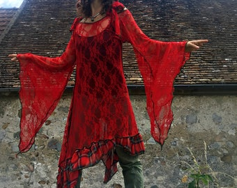 """Red Tunik lace and net Scottish """"Fun in my life..."""""""