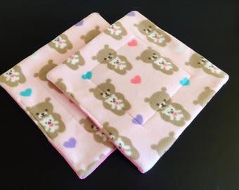 Set of (2) Two 14x14 Fleece pee pad, corner pad, potty pad, Guinea pig, hedgehog, chinchillas, rat
