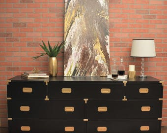 SOLD Custom paint mid century lane campaign dresser in black Vintage Furniture SOLD