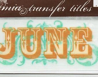 June Title Rub On Transfer Embellishments Cardmaking Crafts My Mind's Eye Bohemia