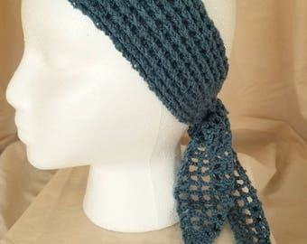 Crochet headband - free shipping, tie headband, ear warmer, blue headband, bohemian, boho hat, crochet hat - women, girls