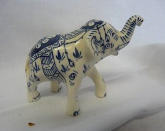 Miniature Ceramic Blue and White Royal Elephant Figurine - Free UK Shipping