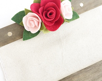 Rustic Wood and Canvas Sign Decorated with Red and Pink Felt Flowers