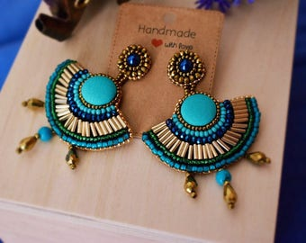 Handmade earrings with turquoise beads and button, ethnic Egypt fan-handmade ethnic, Egyptian, Tutchesi beaded Earrings