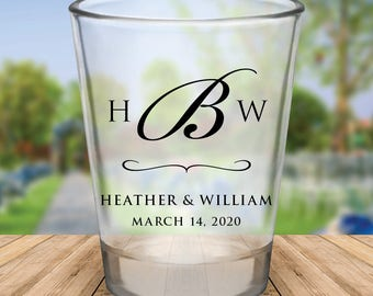 Custom Monogram Wedding Favor Shot Glasses
